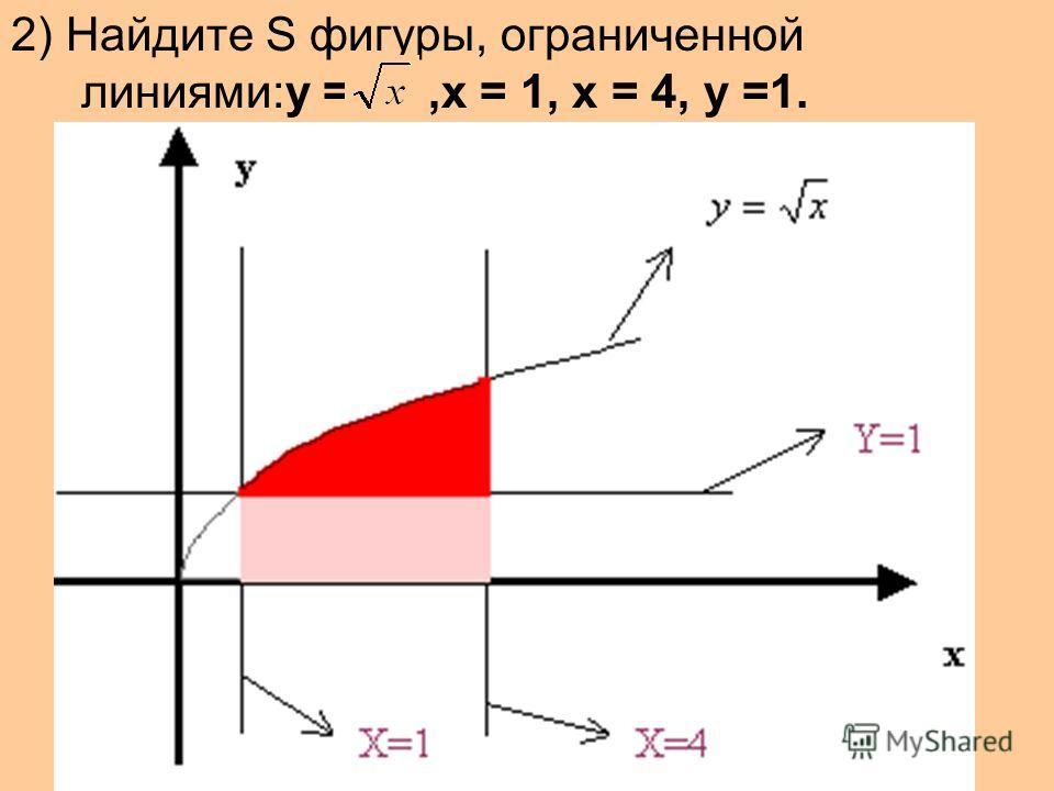 2) Найдите S фигуры, ограниченной линиями:у =,х = 1, х = 4, у =1.