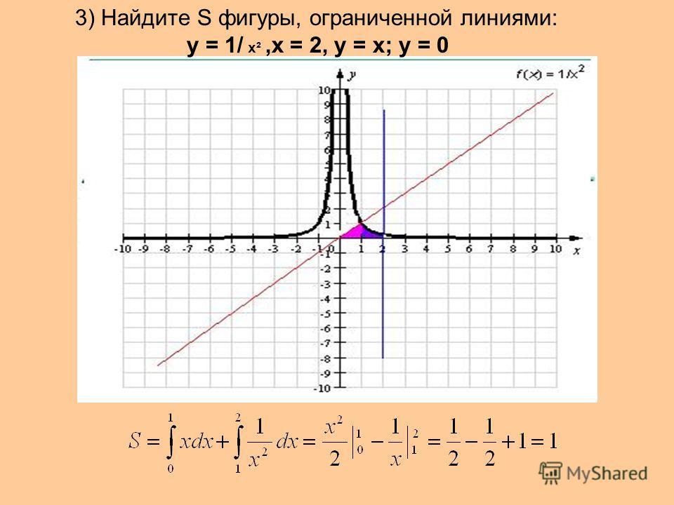 3) Найдите S фигуры, ограниченной линиями: у = 1/ х²,х = 2, у = х; у = 0