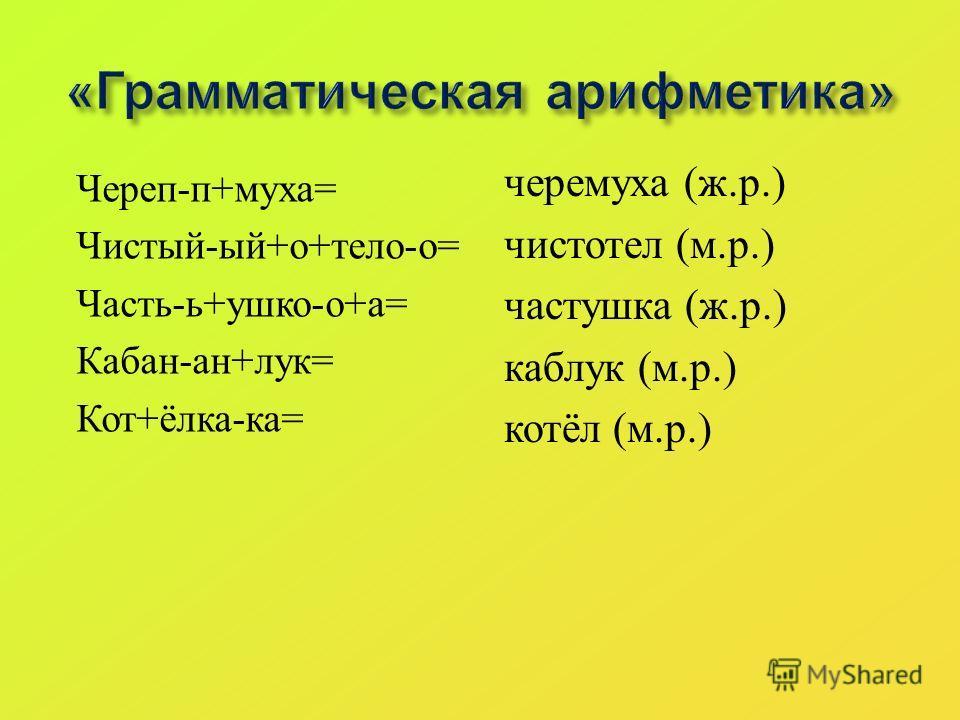«Грамматическая арифметика» Череп-п+муха= Чистый-ый+о+тело-о= Часть-ь+ушко-о+а= Кабан-ан+лук= Кот+ёлка-ка= черемуха (ж.р.) чистотел (м.р.) частушка (ж.р.) каблук (м.р.) котёл (м.р.)