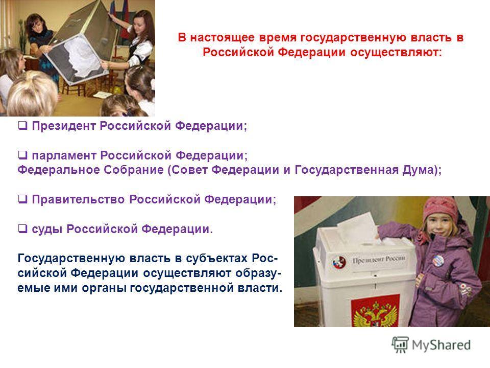 В настоящее время государственную власть в Российской Федерации осуществляют: Президент Российской Федерации; парламент Российской Федерации; Федеральное Собрание (Совет Федерации и Государственная Дума); Правительство Российской Федерации; суды Росс