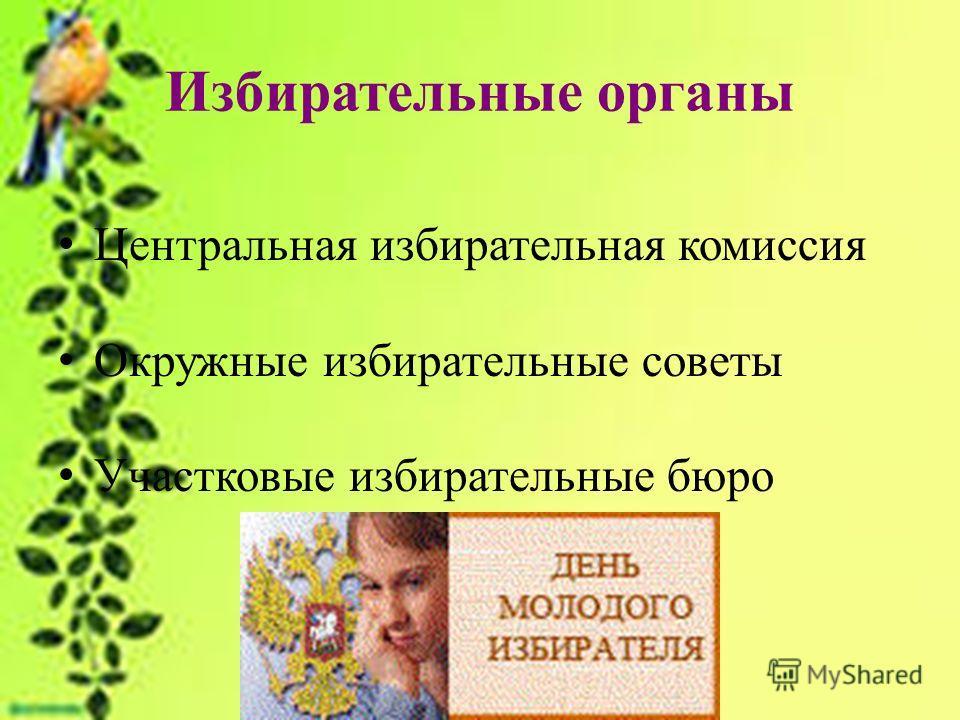 Избирательные органы Центральная избирательная комиссия Окружные избирательные советы Участковые избирательные бюро
