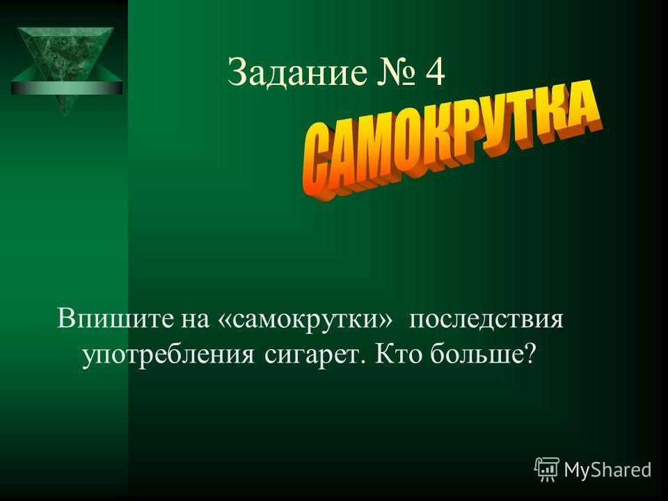 Задание 4 Впишите на «самокрутки» последствия употребления сигарет. Кто больше?