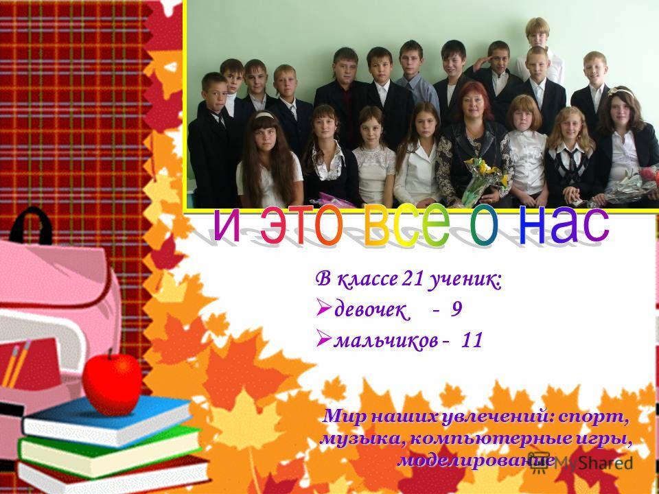 В классе 21 ученик: девочек - 9 мальчиков - 11 Мир наших увлечений: спорт, музыка, компьютерные игры, моделирование
