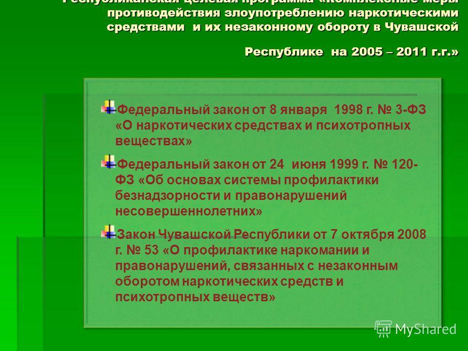 Республиканская целевая программа «Комплексные меры противодействия злоупотреблению наркотическими средствами и их незаконному обороту в Чувашской Республике на 2005 – 2011 г.г.» Федеральный закон от 8 января 1998 г. 3-ФЗ «О наркотических средствах и