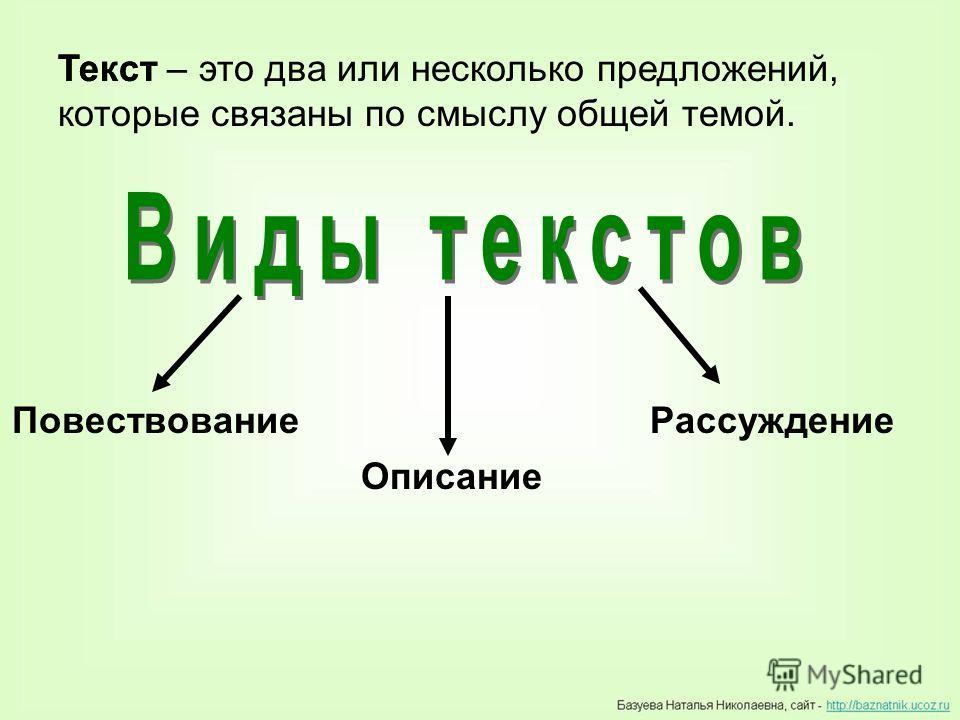 Текст – это два или несколько предложений, которые связаны по смыслу общей темой. Текст Повествование Описание Рассуждение