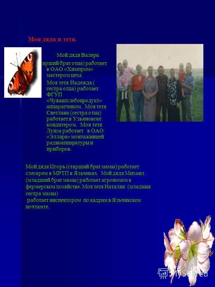 Мои дяди и тети. Мой дядя Валера Мой дядя Валера (старший брат отца) работает в ОАО «Химпром» мастером цеха Моя тетя Надежда ( сестра отца) работает ФГУП «Чувашхлебопродукт» аппаратчиком. Моя тетя Светлана (сестра отца) работает в Ульяновске кондитер