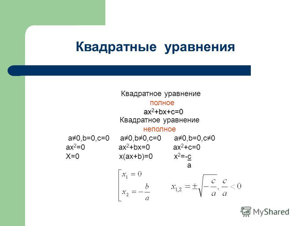 Квадратное уравнение полное ax 2 +bx+c=0 Квадратное уравнение неполное a0,b=0,c=0 a0,b0,c=0 a0,b=0,c0 ax 2 =0 ax 2 +bx=0 ax 2 +c=0 X=0 x(ax+b)=0 x 2 =-c a Квадратные уравнения