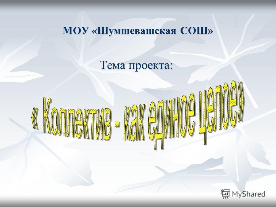 МОУ «Шумшевашская СОШ» Тема проекта: Тема проекта: