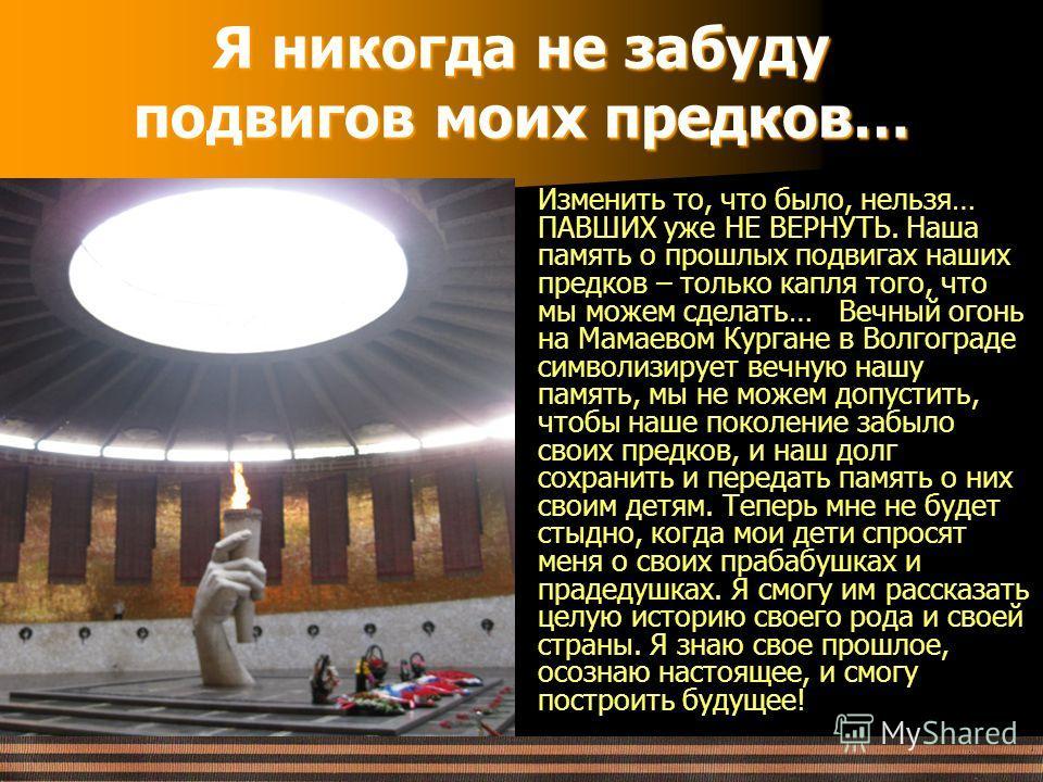 Я никогда не забуду подвигов моих предков… Изменить то, что было, нельзя… ПАВШИХ уже НЕ ВЕРНУТЬ. Наша память о прошлых подвигах наших предков – только капля того, что мы можем сделать… Вечный огонь на Мамаевом Кургане в Волгограде символизирует вечну