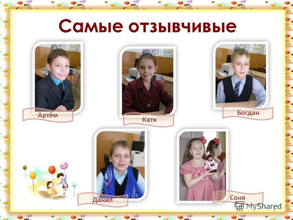 Самые отзывчивые 5 Богдан Артём Данил Соня Катя