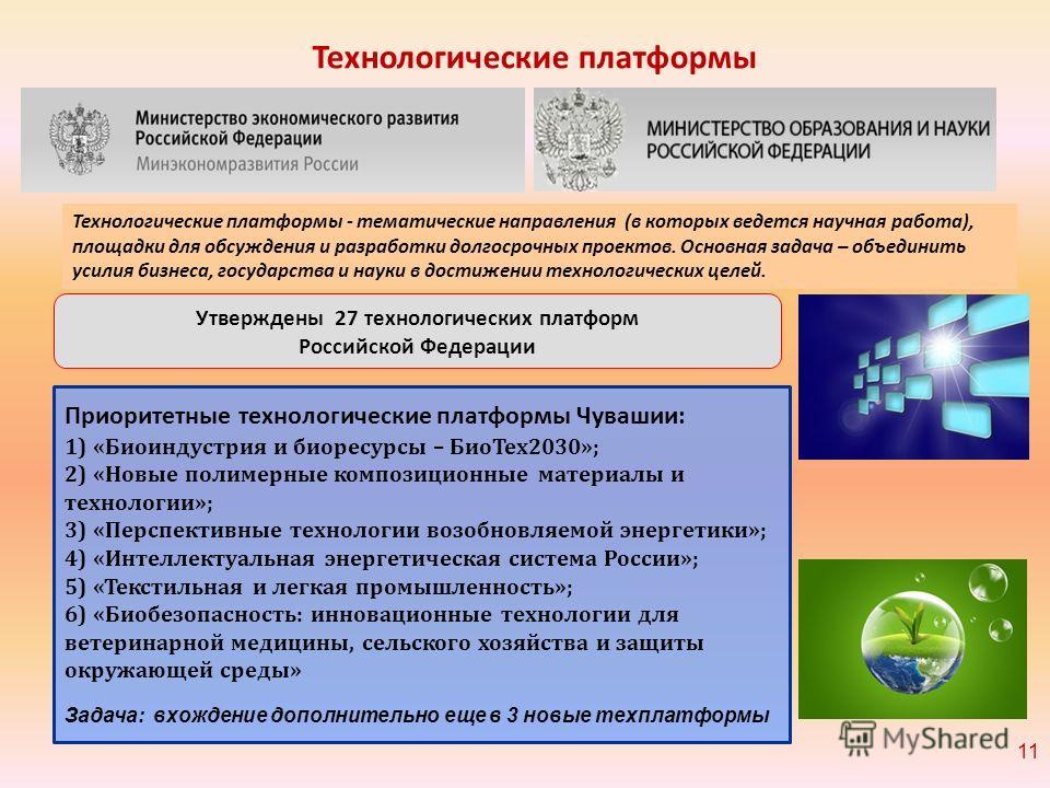 Утверждены 27 технологических платформ Российской Федерации Технологические платформы - тематические направления (в которых ведется научная работа), площадки для обсуждения и разработки долгосрочных проектов. Основная задача – объединить усилия бизне
