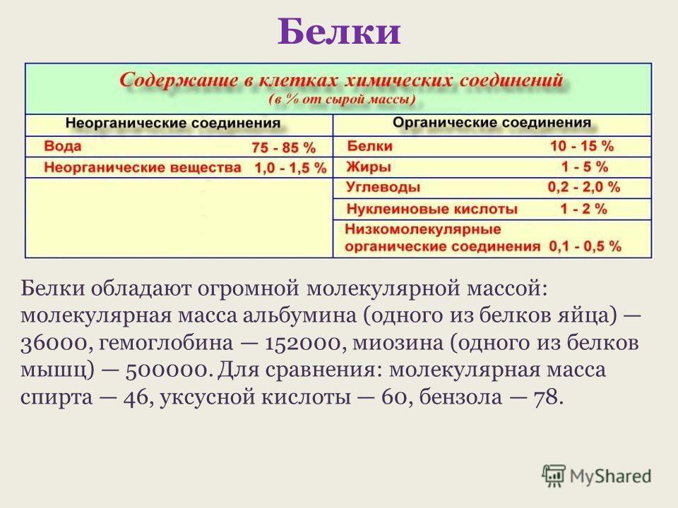 Белки Белки обладают огромной молекулярной массой: молекулярная масса альбумина (одного из белков яйца) 36000, гемоглобина 152000, миозина (одного из белков мышц) 500000. Для сравнения: молекулярная масса спирта 46, уксусной кислоты 60, бензола 78.