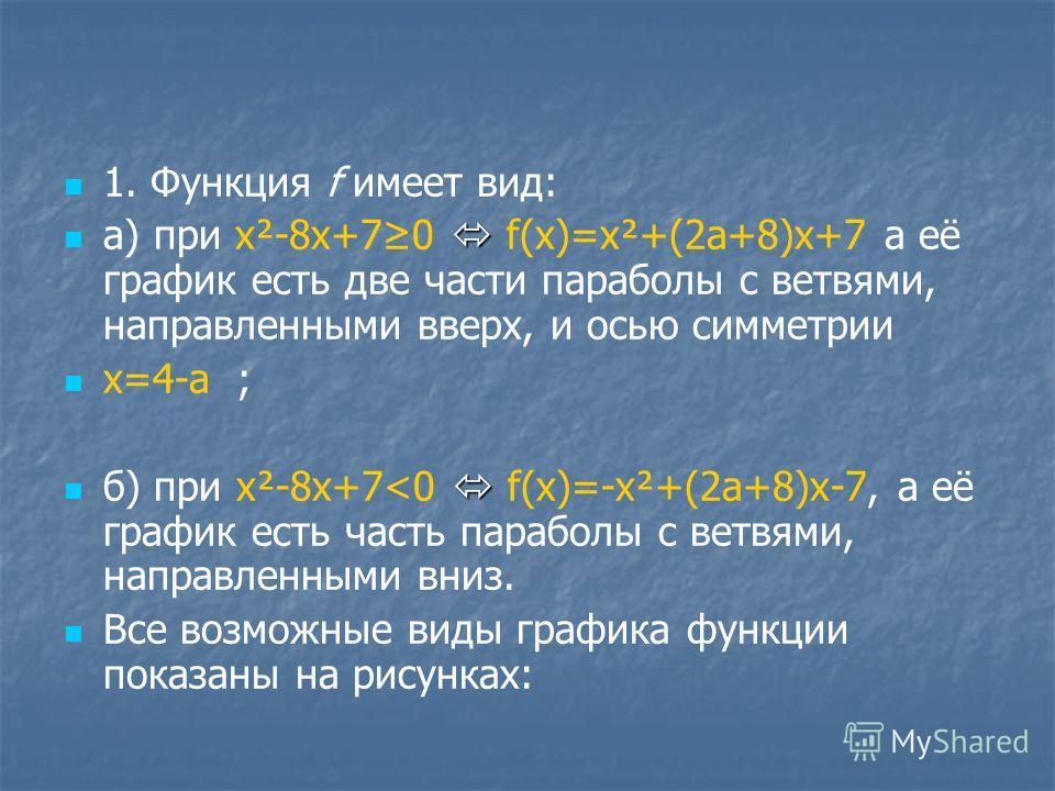 1. Функция f имеет вид: a) при x²-8x+70 f(x)=x²+(2a+8)x+7 а её график есть две части параболы с ветвями, направленными вверх, и осью симметрии x=4-a ; б) при x²-8x+7