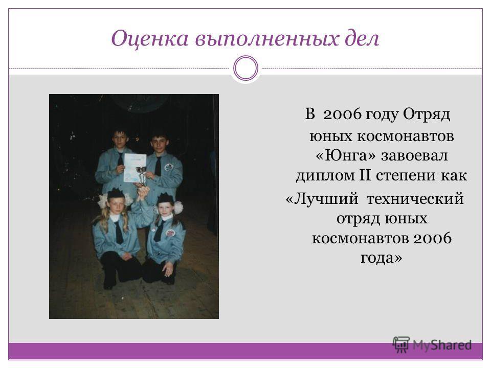 Оценка выполненных дел В 2006 году Отряд юных космонавтов «Юнга» завоевал диплом II степени как «Лучший технический отряд юных космонавтов 2006 года»