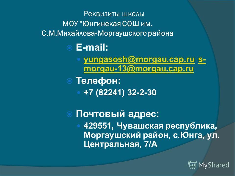 Реквизиты школы МОУ