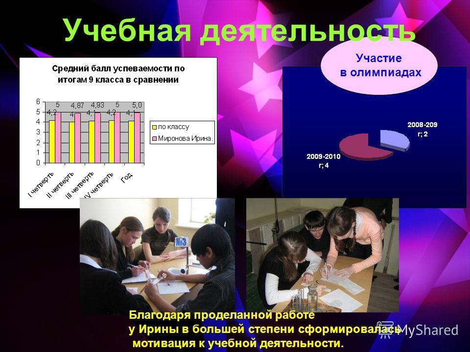 Участие в олимпиадах Учебная деятельность Благодаря проделанной работе у Ирины в большей степени сформировалась мотивация к учебной деятельности.