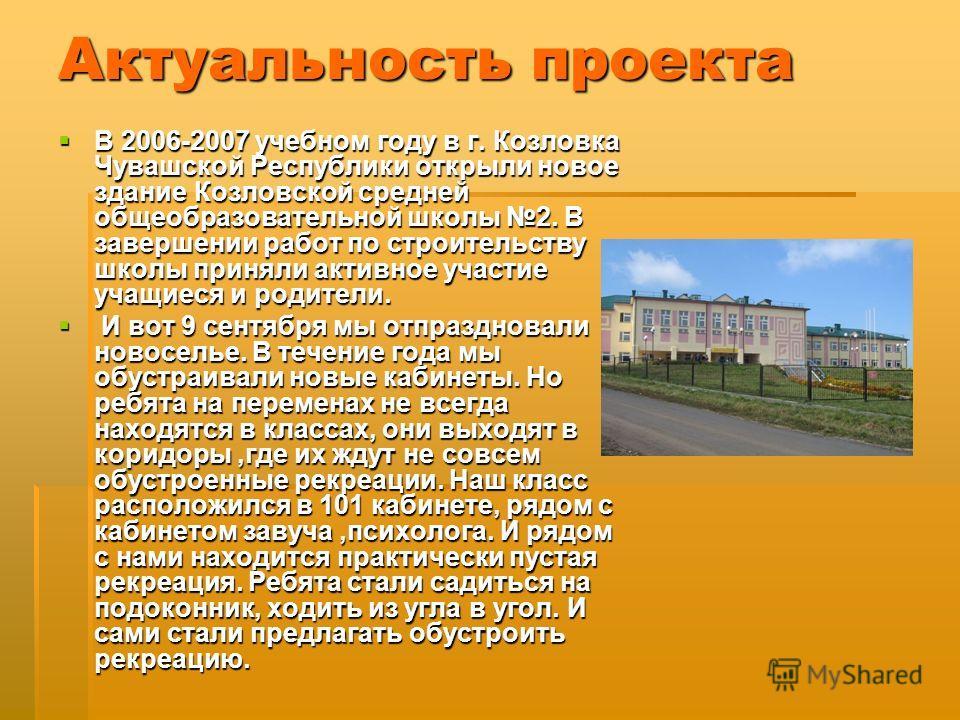 Актуальность проекта В 2006-2007 учебном году в г. Козловка Чувашской Республики открыли новое здание Козловской средней общеобразовательной школы 2. В завершении работ по строительству школы приняли активное участие учащиеся и родители. В 2006-2007