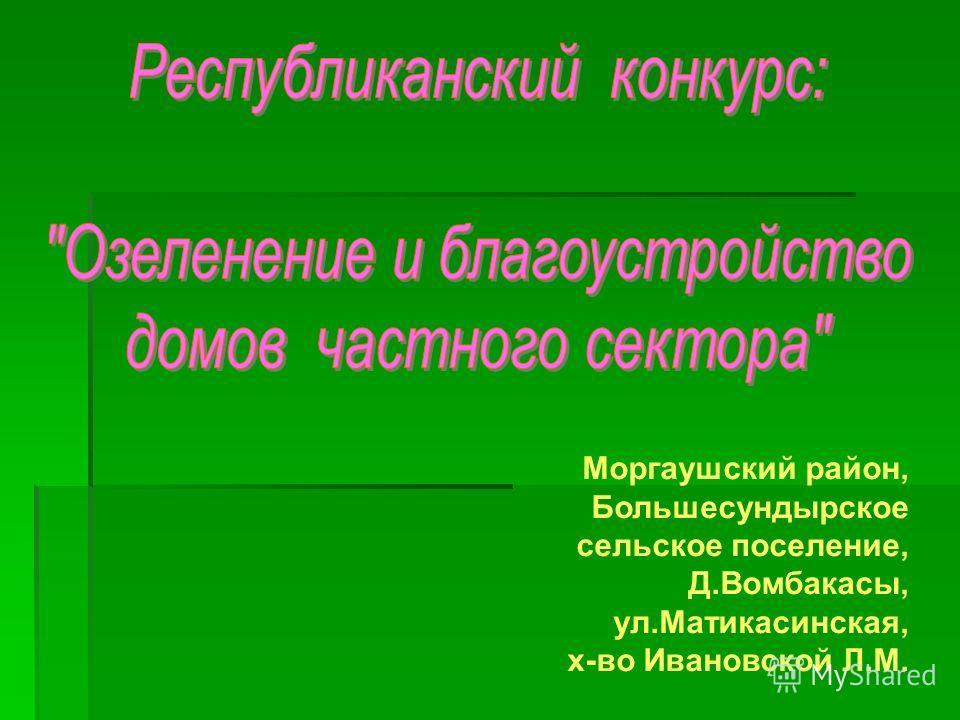 Моргаушский район, Большесундырское сельское поселение, Д.Вомбакасы, ул.Матикасинская, х-во Ивановской Л.М.