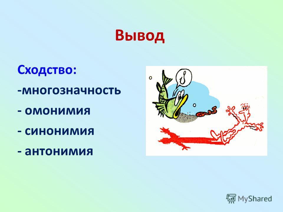 Вывод Сходство: -многозначность - омонимия - синонимия - антонимия