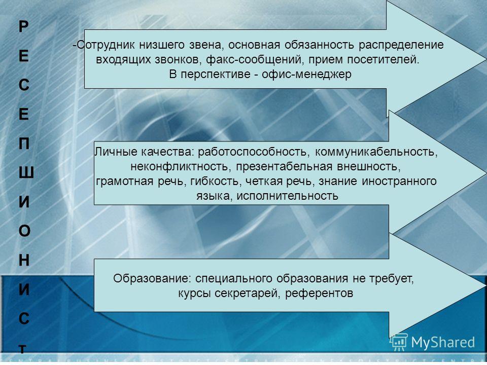 РЕСЕПШИОНИСтРЕСЕПШИОНИСт -Сотрудник низшего звена, основная обязанность распределение входящих звонков, факс-сообщений, прием посетителей. В перспективе - офис-менеджер Личные качества: работоспособность, коммуникабельность, неконфликтность, презента