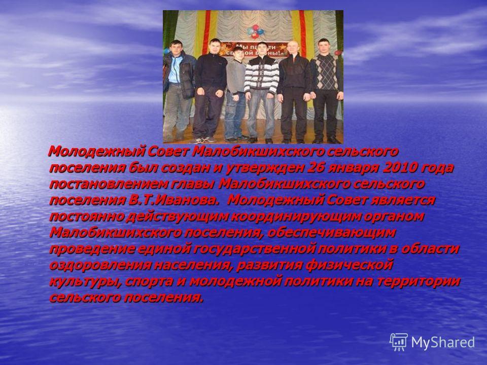 Молодежный Совет Малобикшихского сельского поселения был создан и утвержден 26 января 2010 года постановлением главы Малобикшихского сельского поселения В.Т.Иванова. Молодежный Совет является постоянно действующим координирующим органом Малобикшихско
