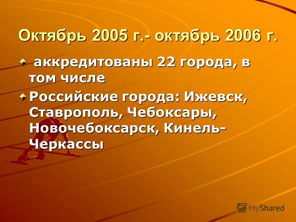 Октябрь 2005 г.- октябрь 2006 г. аккредитованы 22 города, в том числе аккредитованы 22 города, в том числе Российские города: Ижевск, Ставрополь, Чебоксары, Новочебоксарск, Кинель- Черкассы