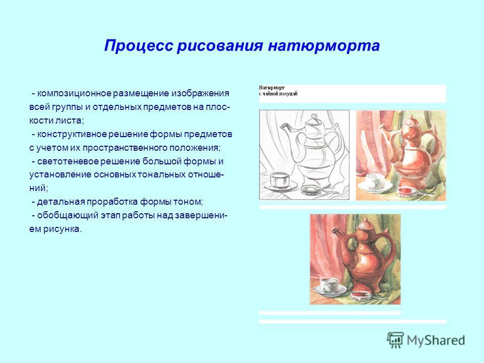 Процесс рисования натюрморта - композиционное размещение изображения всей группы и отдельных предметов на плос- кости листа; - конструктивное решение формы предметов с учетом их пространственного положения; - светотеневое решение большой формы и уста
