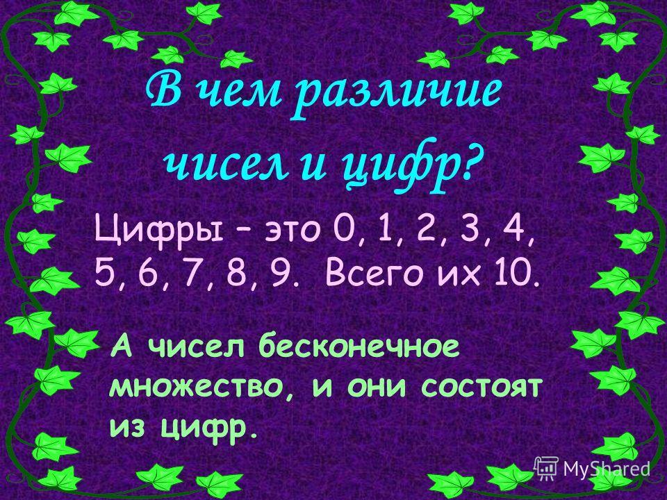 В чем различие чисел и цифр? Цифры – это 0, 1, 2, 3, 4, 5, 6, 7, 8, 9. Всего их 10. А чисел бесконечное множество, и они состоят из цифр.