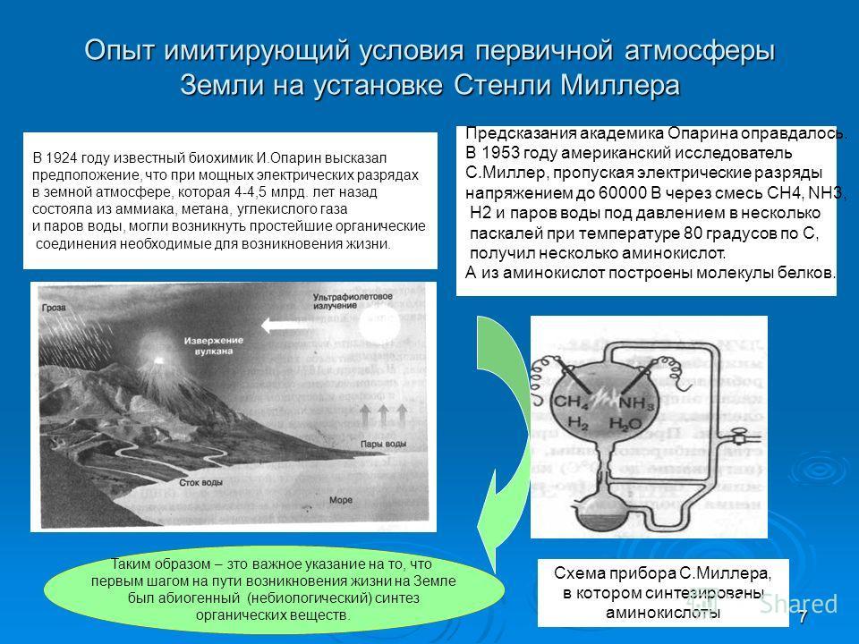 7 Опыт имитирующий условия первичной атмосферы Земли на установке Стенли Миллера Предсказания академика Опарина оправдалось. В 1953 году американский исследователь С.Миллер, пропуская электрические разряды напряжением до 60000 В через смесь СН4, NН3,