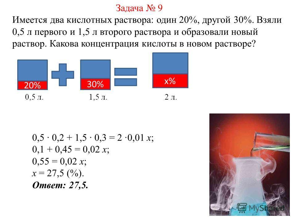 Задача 9 Имеется два кислотных раствора: один 20%, другой 30%. Взяли 0,5 л первого и 1,5 л второго раствора и образовали новый раствор. Какова концентрация кислоты в новом растворе? 20% 30% х% 0,5 л. 1,5 л. 2 л. 0,5 0,2 + 1,5 0,3 = 2 0,01 х; 0,1 + 0,