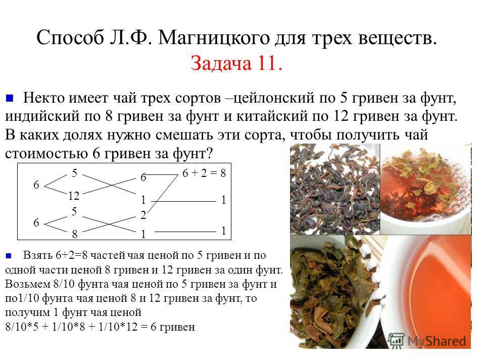 Способ Л.Ф. Магницкого для трех веществ. Задача 11. Некто имеет чай трех сортов –цейлонский по 5 гривен за фунт, индийский по 8 гривен за фунт и китайский по 12 гривен за фунт. В каких долях нужно смешать эти сорта, чтобы получить чай стоимостью 6 гр