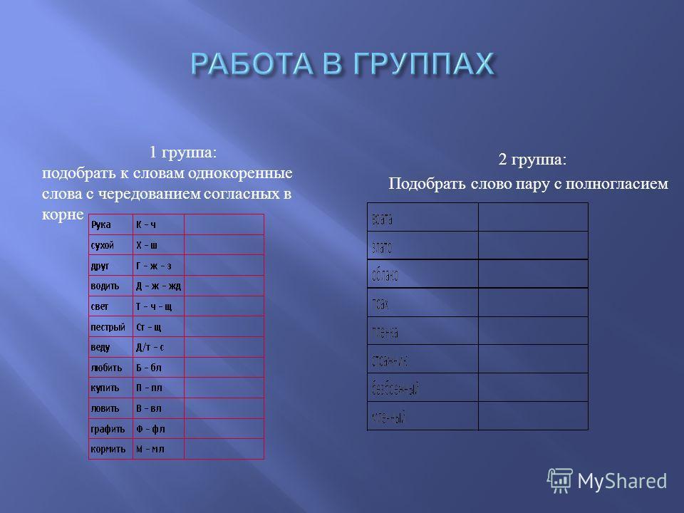 2 группа : Подобрать слово пару с полногласием 1 группа: подобрать к словам однокоренные слова с чередованием согласных в корне