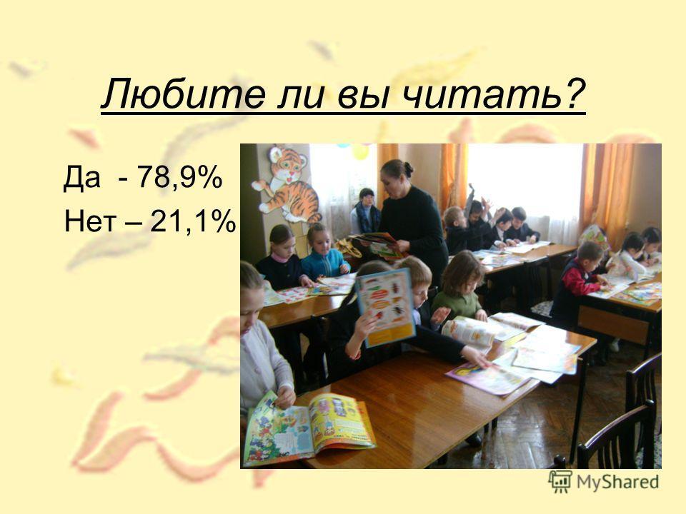 Любите ли вы читать? Да - 78,9% Нет – 21,1%