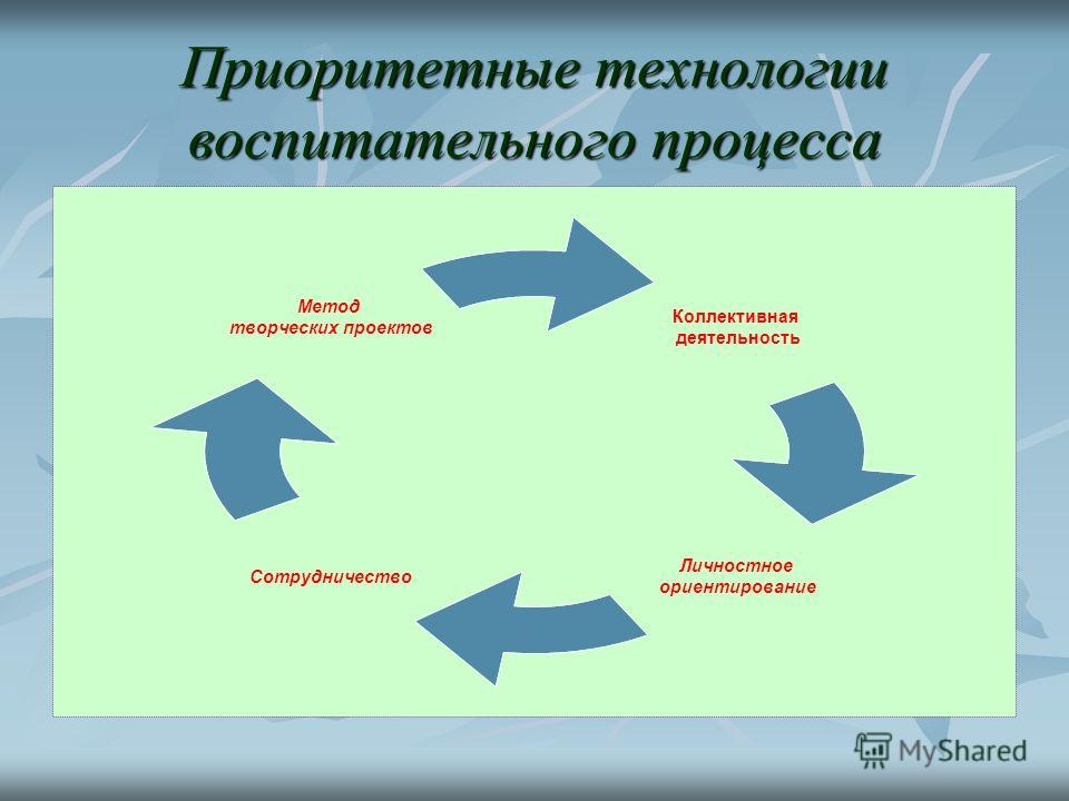 Приоритетные технологии воспитательного процесса Коллективная деятельность Личностное ориентирование Сотрудничество Метод творческих проектов