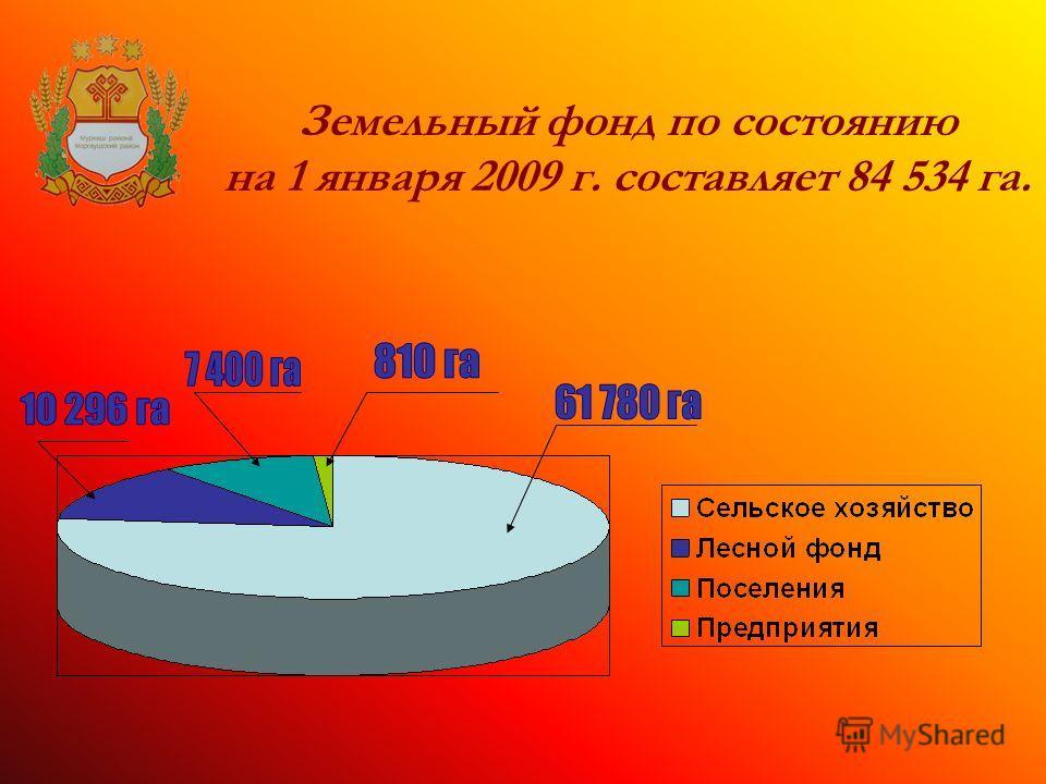 Земельный фонд по состоянию на 1 января 2009 г. составляет 84 534 га.