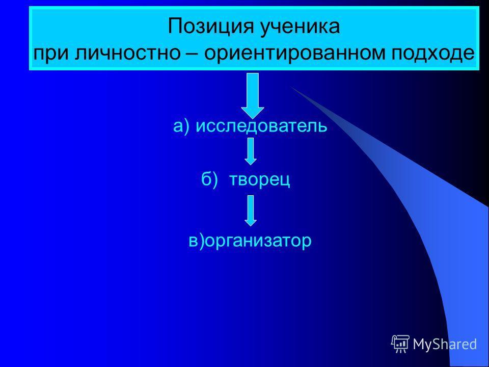 Позиция ученика при личностно – ориентированном подходе а) исследователь б) творец в)организатор