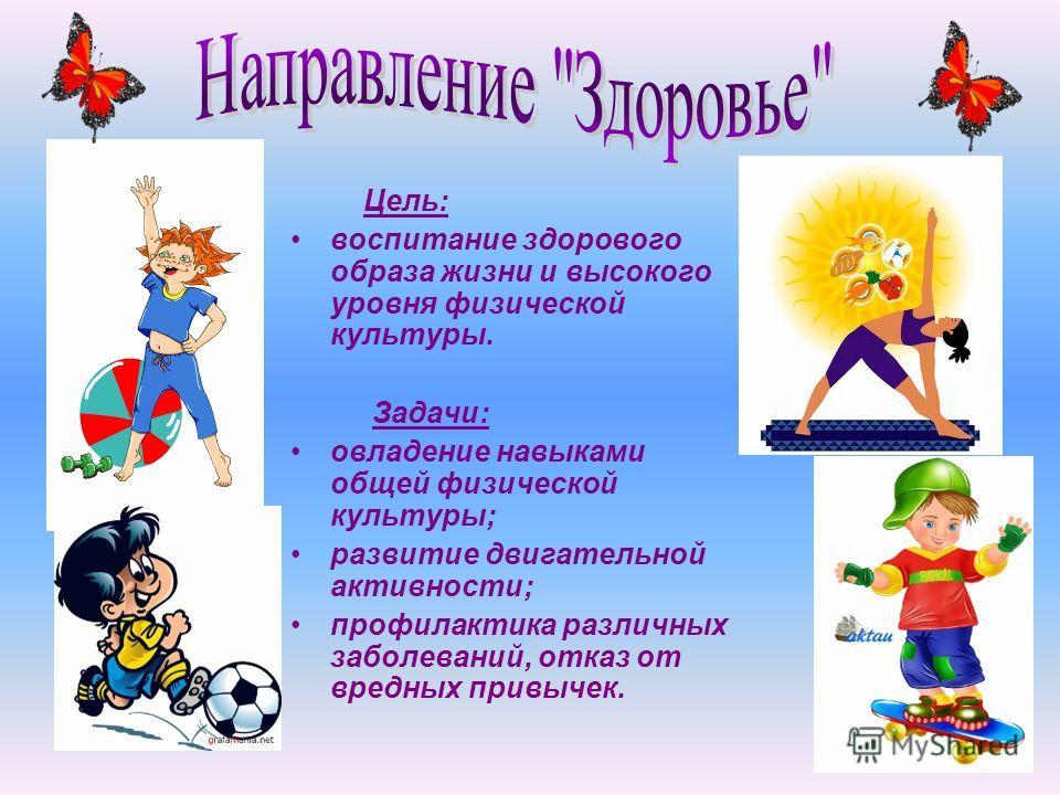 Цель: воспитание здорового образа жизни и высокого уровня физической культуры. Задачи: овладение навыками общей физической культуры; развитие двигательной активности; профилактика различных заболеваний, отказ от вредных привычек.