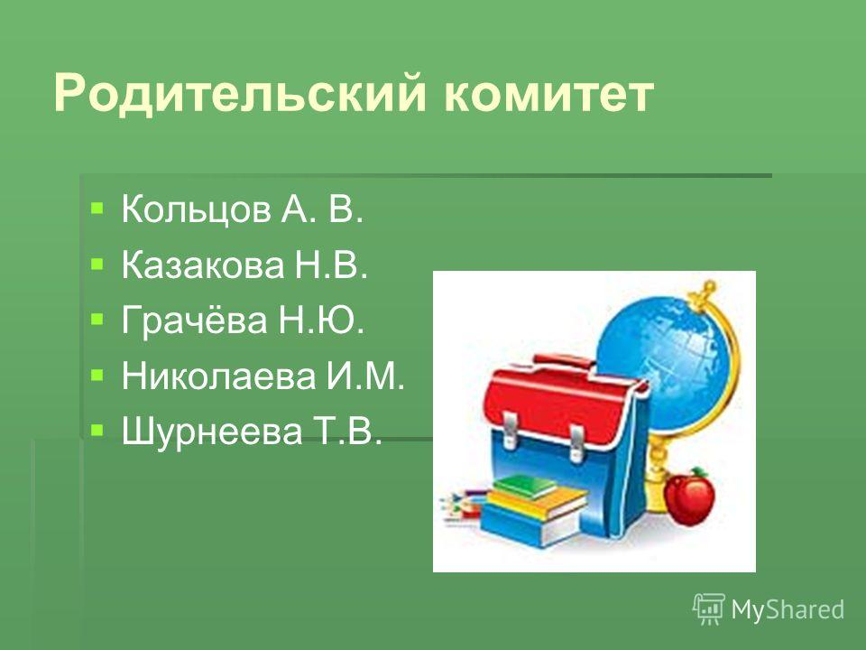 Родительский комитет Кольцов А. В. Казакова Н.В. Грачёва Н.Ю. Николаева И.М. Шурнеева Т.В.