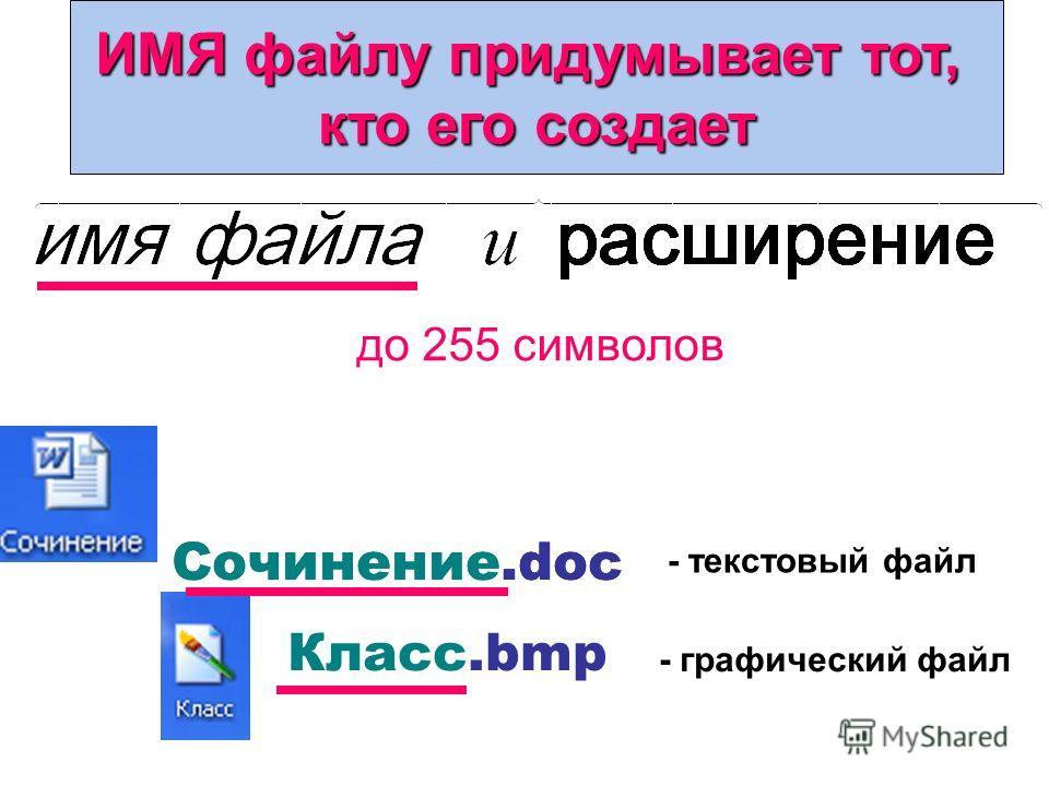 Имя файла: до 255 символов Класс.bmp - текстовый файл - графический файл Сочинение.doc ИМЯ файлу придумывает тот, кто его создает