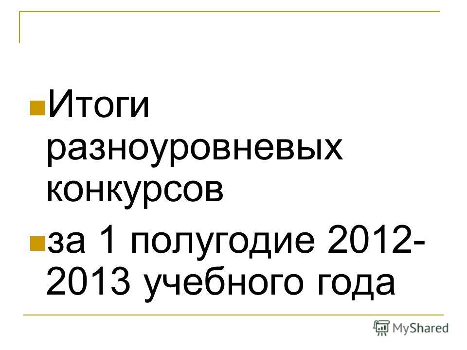 Итоги разноуровневых конкурсов за 1 полугодие 2012- 2013 учебного года