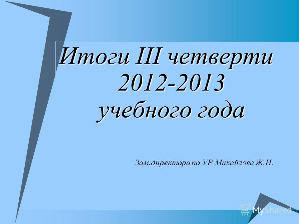 Итоги III четверти 2012-2013 учебного года Зам.директора по УР Михайлова Ж.Н.