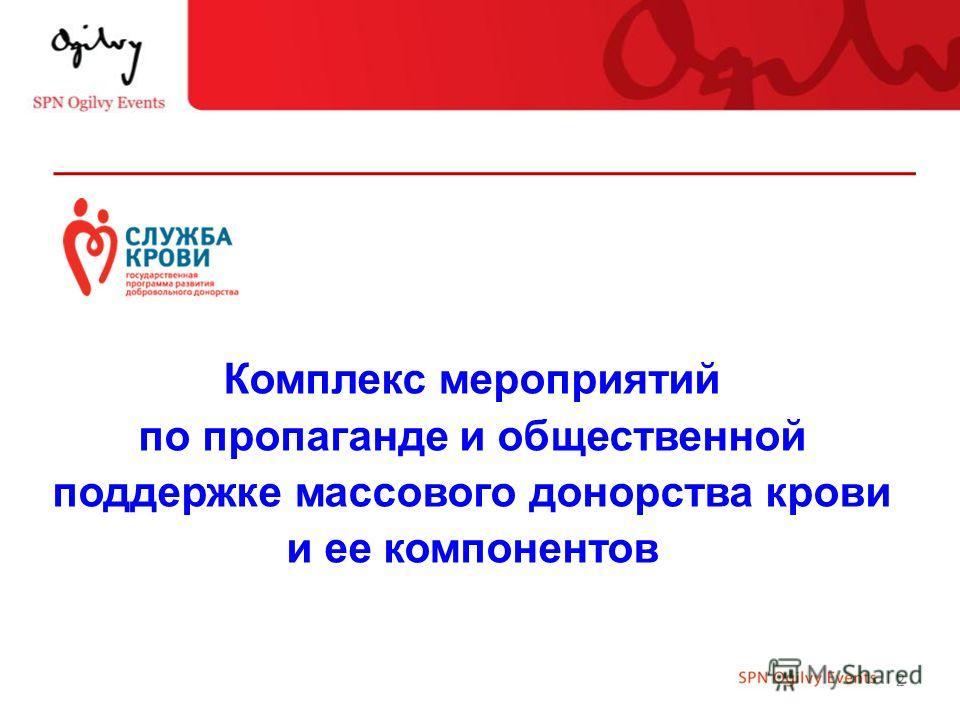 2 Комплекс мероприятий по пропаганде и общественной поддержке массового донорства крови и ее компонентов