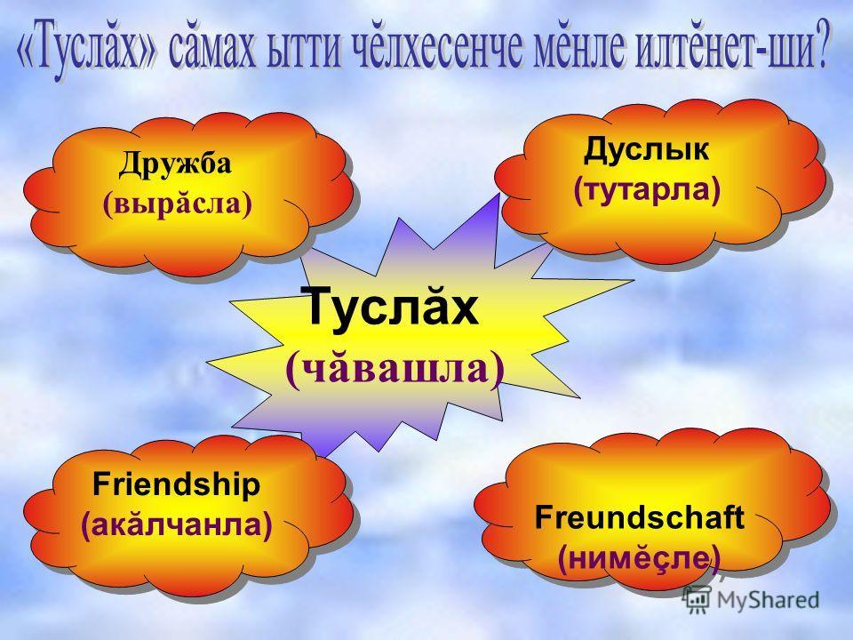 Туслăх (чăвашла) Дружба (вырăсла) Дружба (вырăсла) Дуслык (тутарла) Дуслык (тутарла) Friendship (акăлчанла) Friendship (акăлчанла) Freundschaft (нимĕçле) Freundschaft (нимĕçле)
