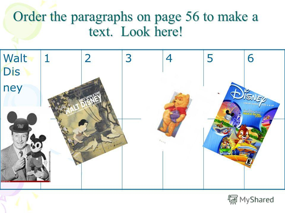 Order the paragraphs on page 56 to make a text. Look here! Walt Dis ney 123456