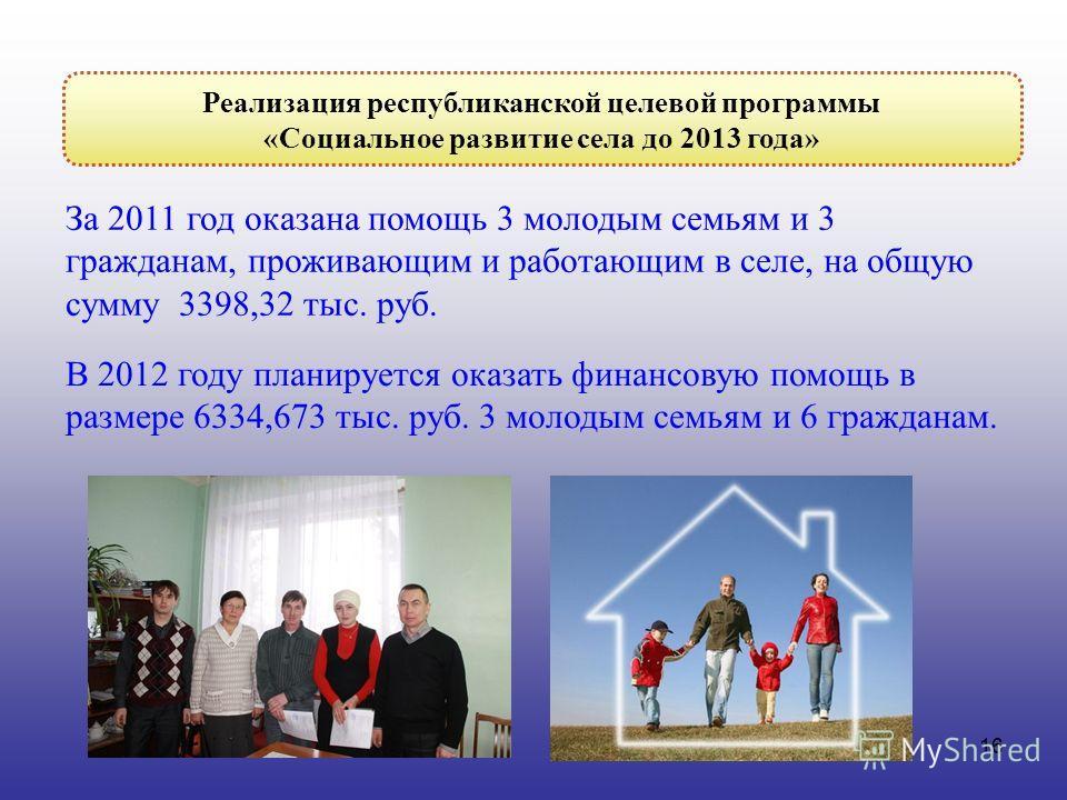 16 За 2011 год оказана помощь 3 молодым семьям и 3 гражданам, проживающим и работающим в селе, на общую сумму 3398,32 тыс. руб. В 2012 году планируется оказать финансовую помощь в размере 6334,673 тыс. руб. 3 молодым семьям и 6 гражданам. Реализация