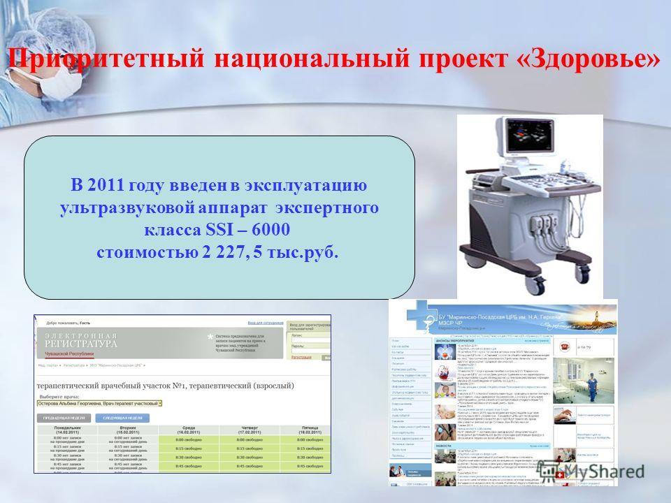 43 Приоритетный национальный проект «Здоровье» В 2011 году введен в эксплуатацию ультразвуковой аппарат экспертного класса SSI – 6000 стоимостью 2 227, 5 тыс.руб.