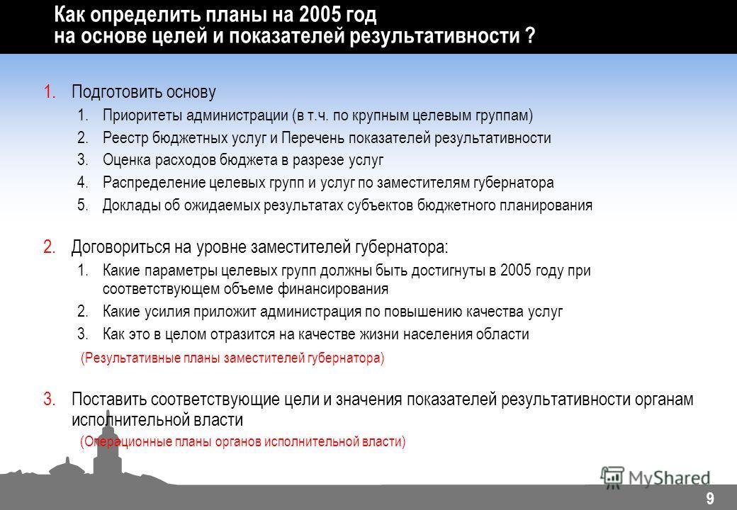 9 Как определить планы на 2005 год на основе целей и показателей результативности ? 1.Подготовить основу 1.Приоритеты администрации (в т.ч. по крупным целевым группам) 2.Реестр бюджетных услуг и Перечень показателей результативности 3.Оценка расходов