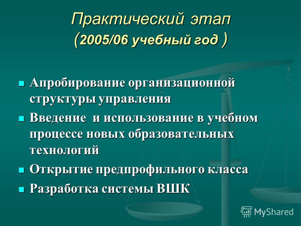 Практический этап ( 2005/06 учебный год ) Апробирование организационной структуры управления Апробирование организационной структуры управления Введение и использование в учебном процессе новых образовательных технологий Введение и использование в уч
