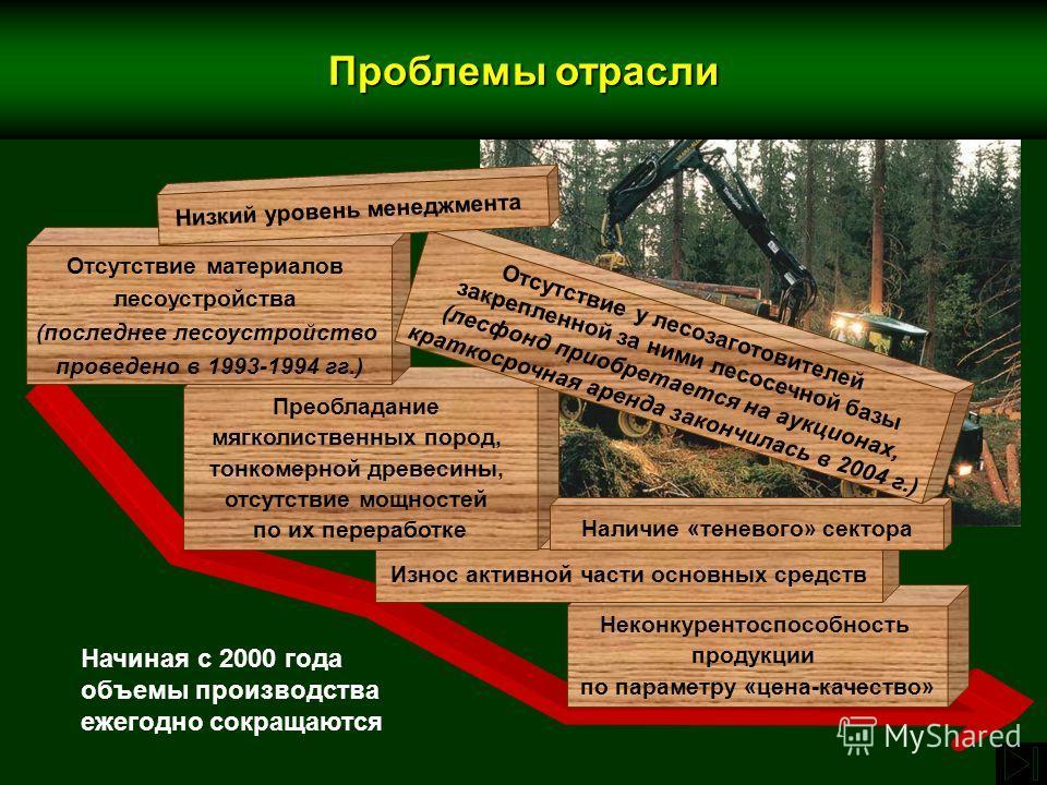 Неконкурентоспособность продукции по параметру «цена-качество» Износ активной части основных средств Преобладание мягколиственных пород, тонкомерной древесины, отсутствие мощностей по их переработке Наличие «теневого» сектора Отсутствие материалов ле