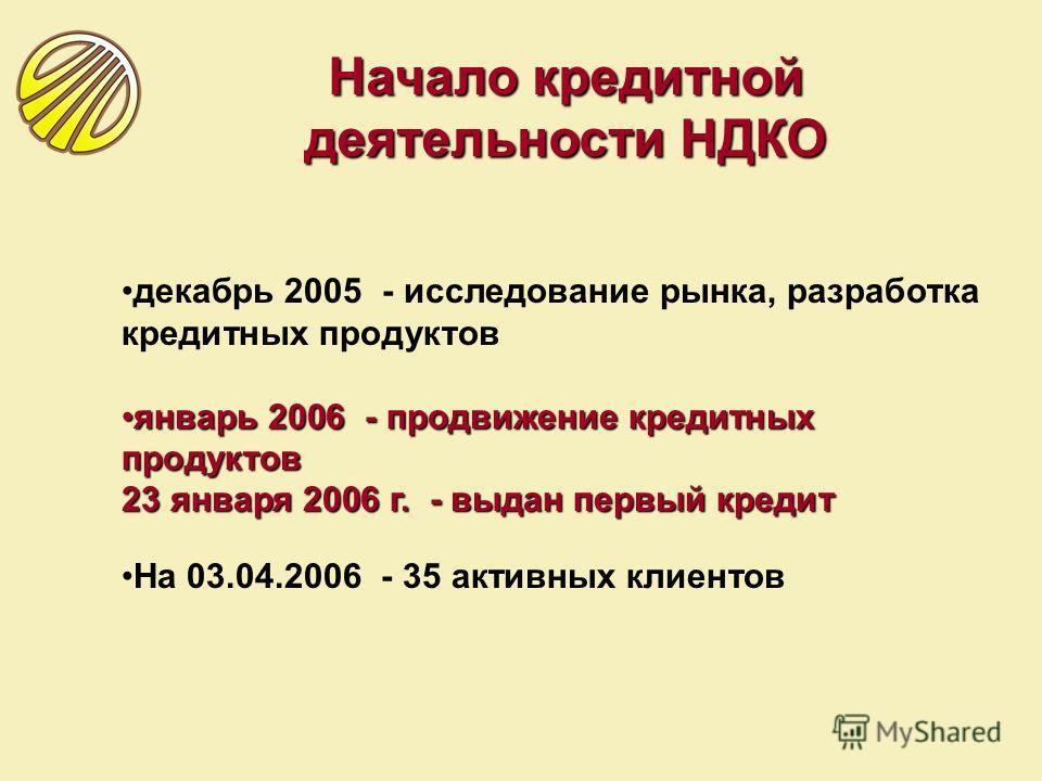декабрь 2005 - исследование рынка, разработка кредитных продуктов январь 2006 - продвижение кредитных продуктовянварь 2006 - продвижение кредитных продуктов 23 января 2006 г. - выдан первый кредит На 03.04.2006 - 35 активных клиентов Начало кредитной